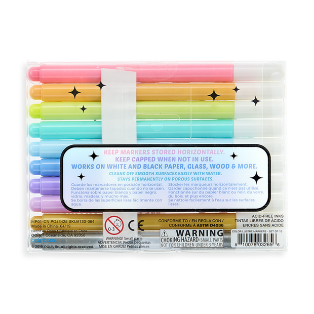 OOLY: Color Lustre Metallic Brush Markers - Set of 10