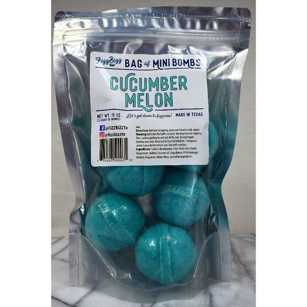 Fizz Bizz Mini Bomb 5 Pack: Cucumber Melon Bath Bombs