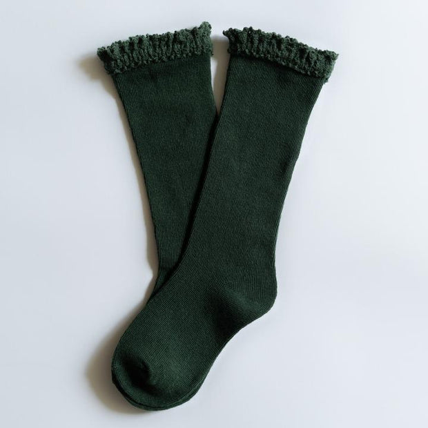 Little Stocking Co. Lace Top Knee High Socks: Forest Green