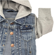 Little Bipsy Hooded Denim Jacket: Grey
