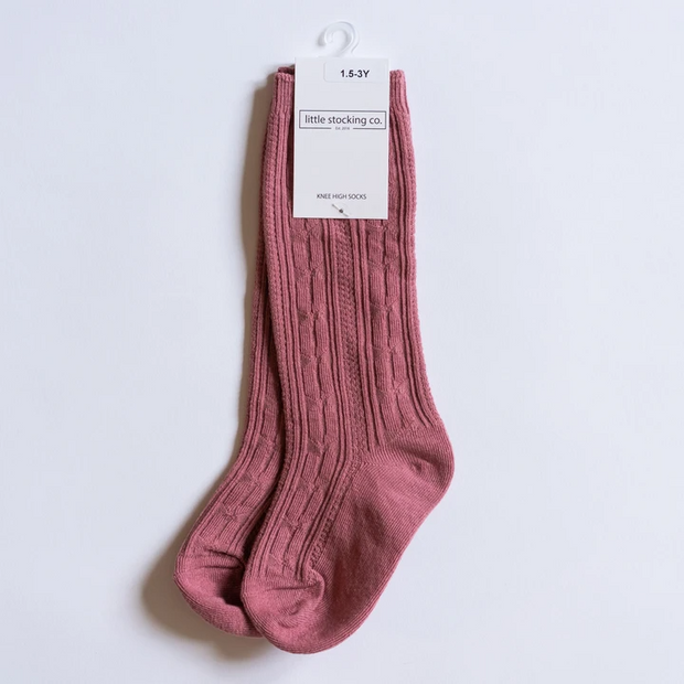Little Stocking Co. Knee High Socks: Mauve