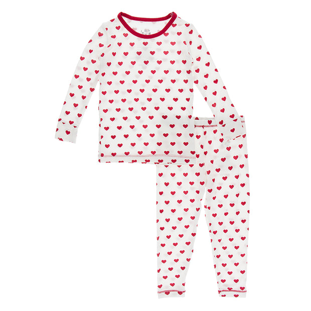 Kickee Pants Long Sleeve Pajama Set: Natural Hearts