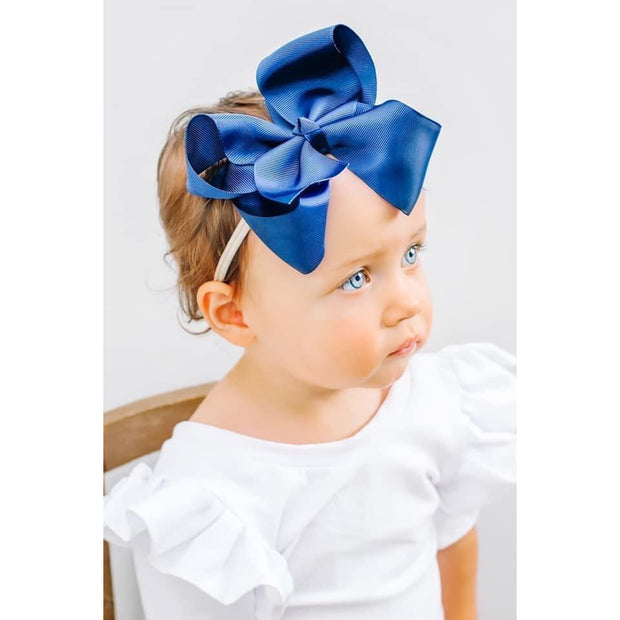 Little Lopers Ribbon Bow: Navy