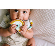 LouLou Lollipop Teether Holder Set: Neutral Rainbow Silicone Teether Set