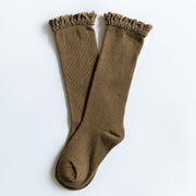 Little Stocking Co. Lace Top Knee High Socks: Olive
