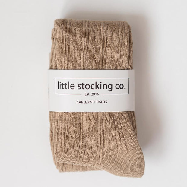 Little Stocking Co. Cable Knit Tights: Oat