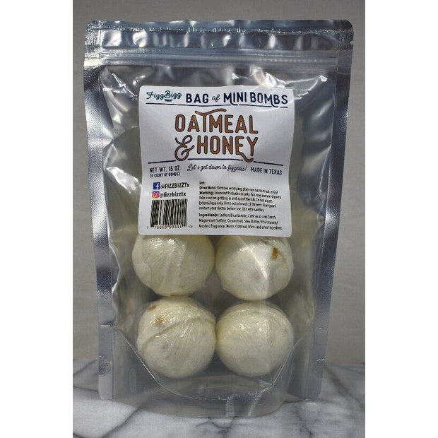 Fizz Bizz Mini Bomb 5 Pack: Oatmeal and Honey Bath Bombs