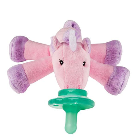 LouLou Lollipop: Pink Unicorn Donut Silicone Teether With Holder Set (Pink/Blue)