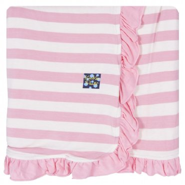 Kickee Pants Essentials Ruffle Toddler Blanket: Lotus Stripe