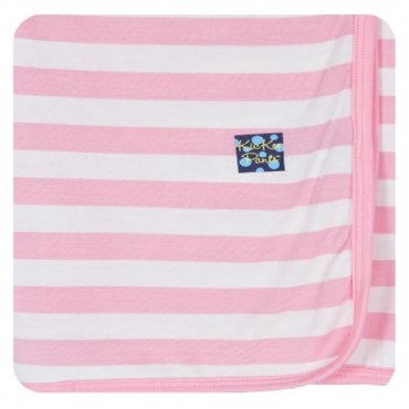 Kickee Pants Essentials Print Swaddling Blanket: Lotus Stripe