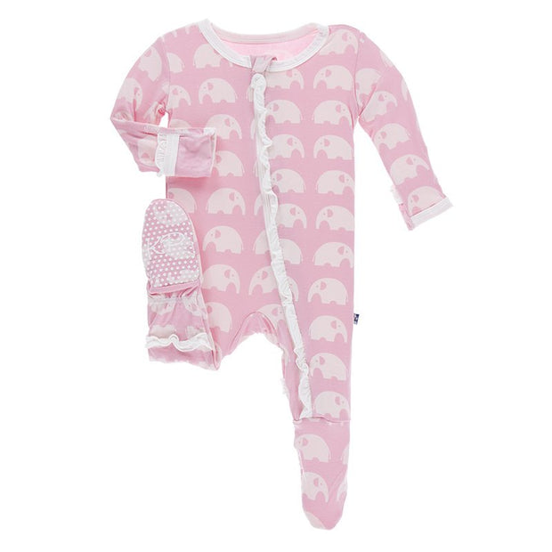 Kickee Pants Essentials Print Classic Ruffle Footie: Lotus Elephant (Snaps and Zipper)