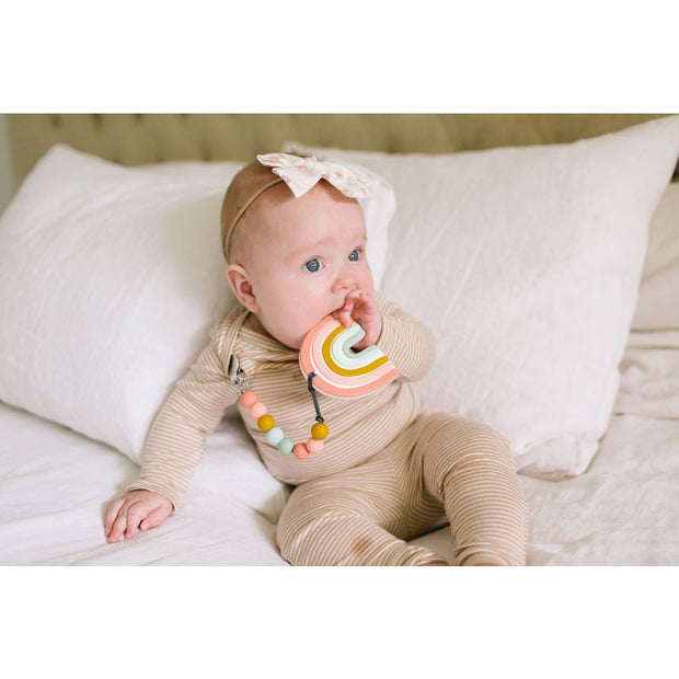 LouLou Lollipop Teether Holder Set: Pastel Rainbow Silicone Teether Set