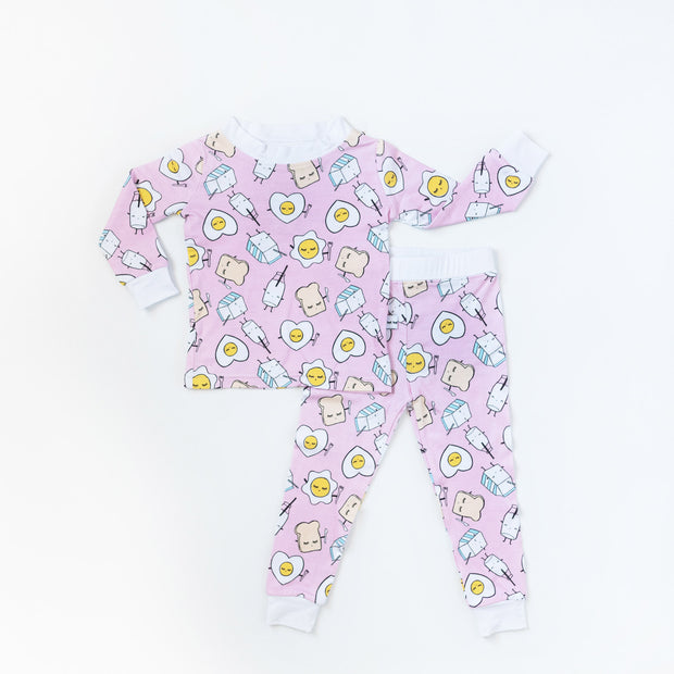Little Sleepies Two-Piece Pajama Set: Pink Breakfast Buddies