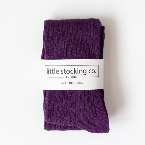 Little Stocking Co. Cable Knit Tights: Plum