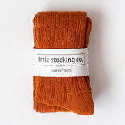 Little Stocking Co. Cable Knit Tights: Pumpkin Spice
