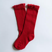 Little Stocking Co. Lace Top Knee High Socks: True Red