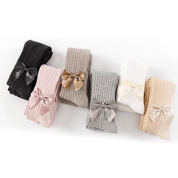 Petit Maison Kids Ribbed Tights with Bows: Brown
