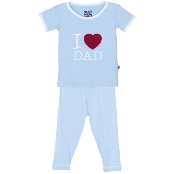 "Kickee Pants Short Sleeve Applique Pajama Set: Pond ""I Love Dad"""