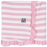 Kickee Pants Essentials Print Ruffle Stroller Blanket: Lotus Stripe