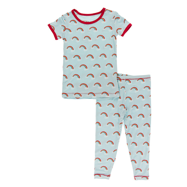 Kickee Pants Pajama Set: Spring Sky Rainbows