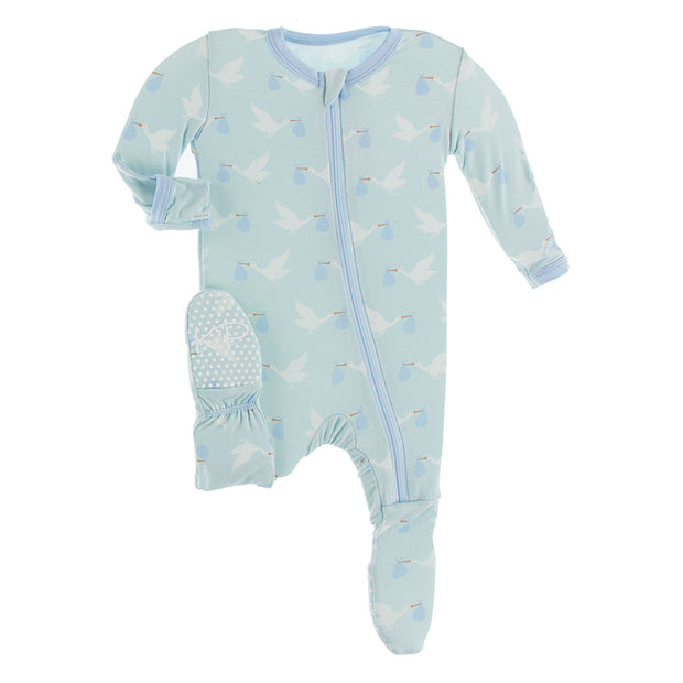 Kickee Pants Footie with Zipper: Spring Sky Stork