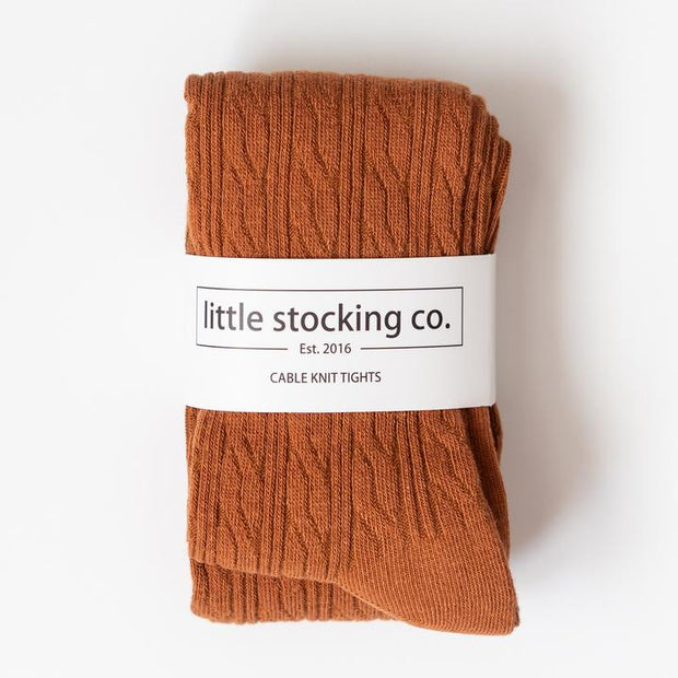 Little Stocking Co. Cable Knit Tights: Sugar Almond