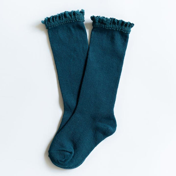 Little Stocking Co. Lace Top Knee High Socks: Deep Teal
