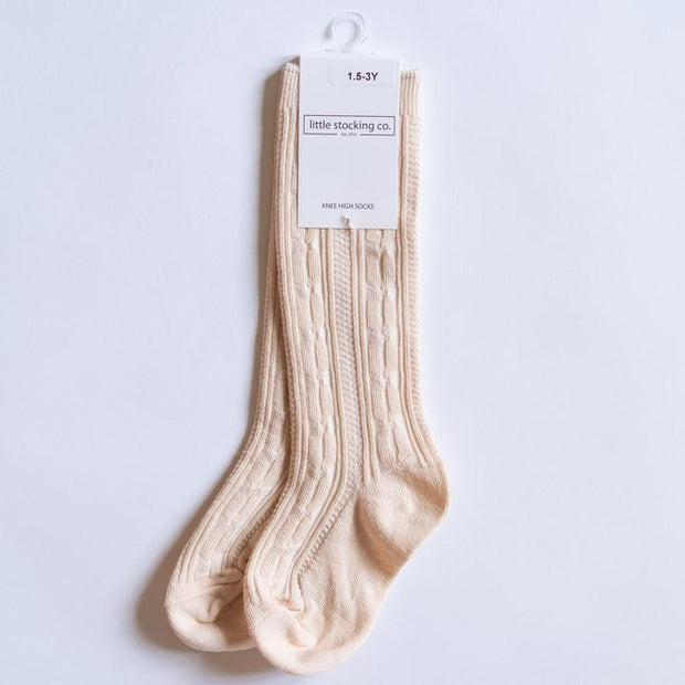 Little Stocking Co. Knee High Socks: Vanilla Cream