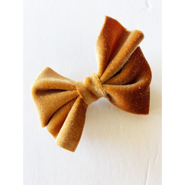 Little Lopers Flap-less Velvet Bow: Caramel (All Styles)