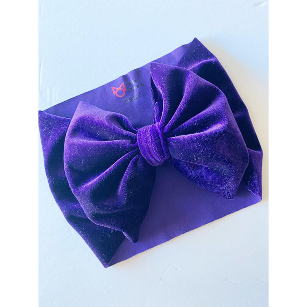 Little Lopers Flap-less Velvet Bow: Deep Purple (All Styles)