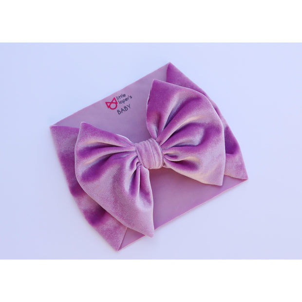 Little Lopers Flap-less Velvet Bow: Lavender (All Styles)