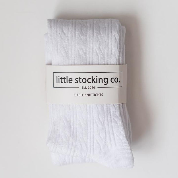 Little Stocking Co. Cable Knit Tights: White