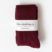 Little Stocking Co. Cable Knit Tights: Wine