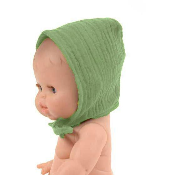 Minikane Doll Clothes: Cotton Bonnet - Olive Green
