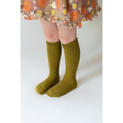 Little Stocking Co. Knee High Socks: Bright Olive