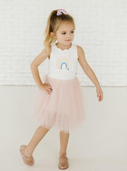 Petite Hailey Rainbow Tutu Dress: Pink