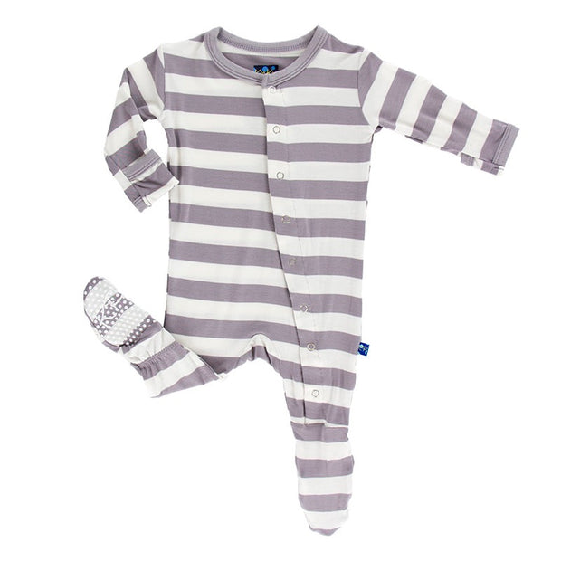 Kickee Pants Essential Footie - Feather Contrast Stripe (Snaps and Zipper)
