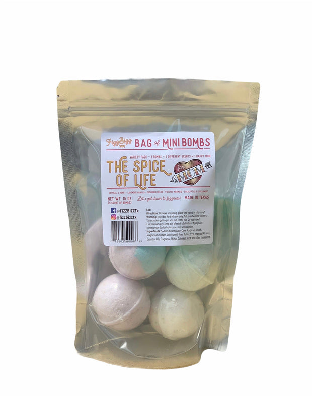 Fizz Bizz Mini Bomb 5 Pack: The Spice of Life Bath Bombs MOTHER'S DAY EDITION