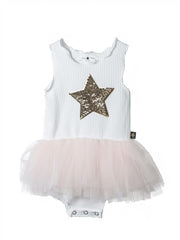 Petite Hailey Star Tutu Onesie: Pink and White
