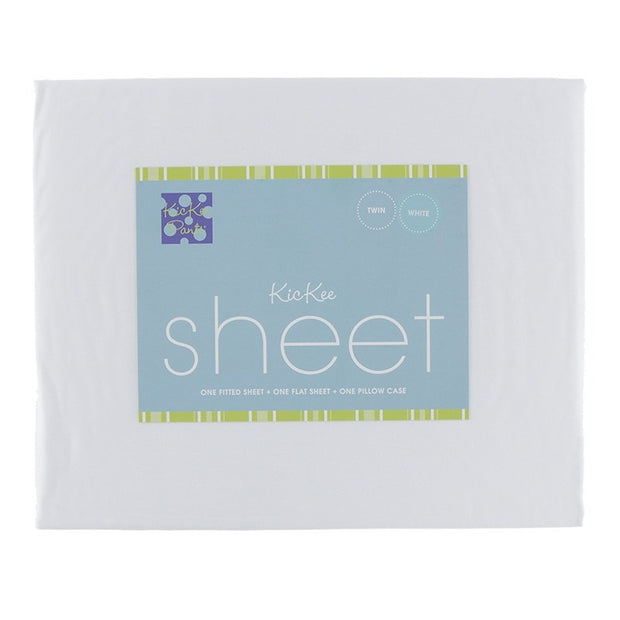 Kickee Pants Woven Sheet Set: White
