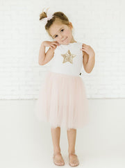 Petite Hailey Star Tutu Dress: Pink and White