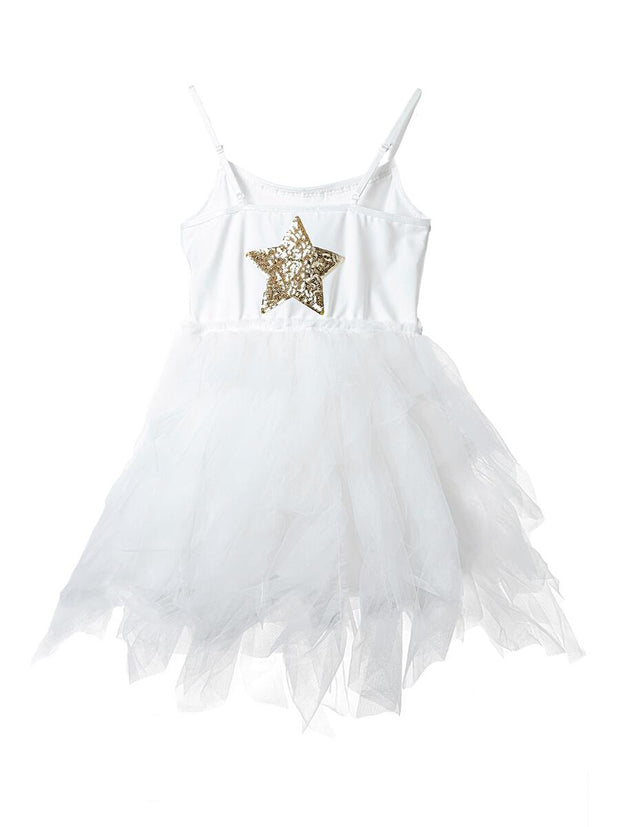 Petite Hailey Fur Wave Tutu Dress: White