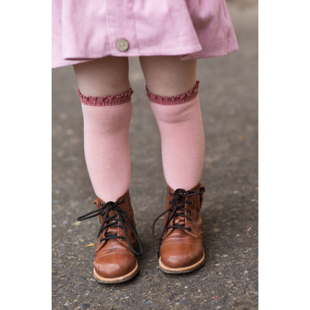Little Stocking Co. Lace Top Knee High Socks: Blush + Mauve
