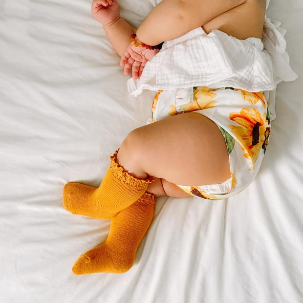 Little Stocking Co. Lace Top Knee High Socks: Marigold Yellow