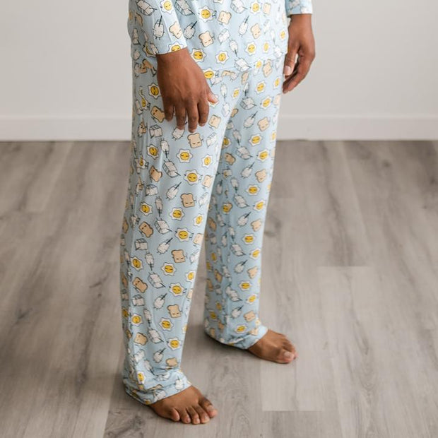 Little Sleepies Men's Pajama Pants: Blue Breakfast Buddies