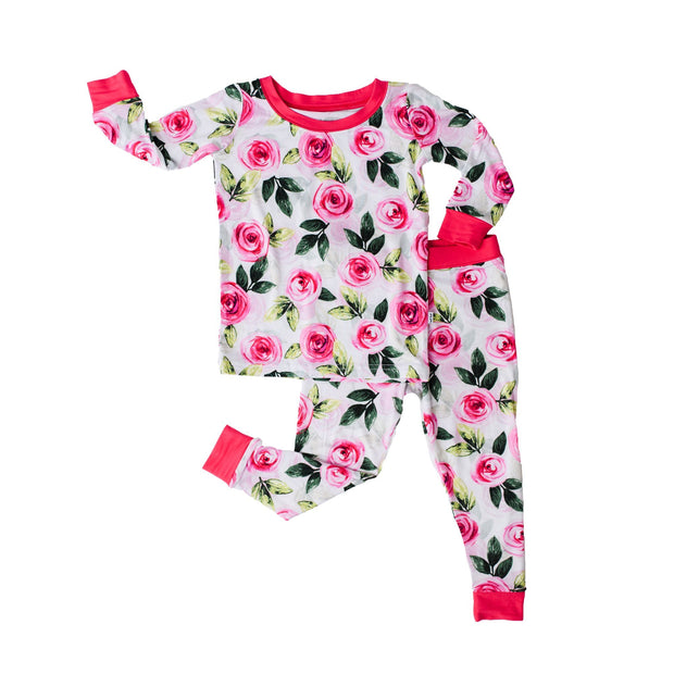 Little Sleepies Long Sleeve Two-Piece Pajama Set: Roses