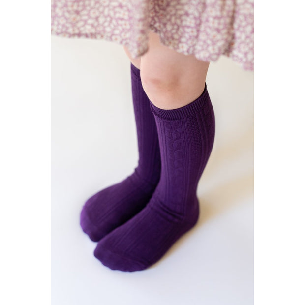 Little Stocking Co. Knee High Socks: Plum
