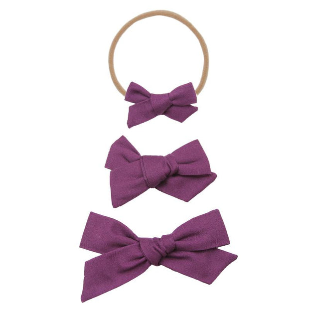Lou Lou and Company- Plum Classic Bow- Mini