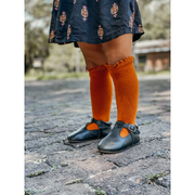 Little Stocking Co. Lace Top Knee High Socks: Pumpkin Spice