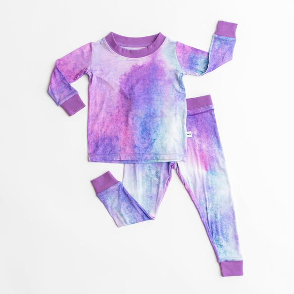 Little Sleepies Two-Piece Pajama Set: Purple Watercolor